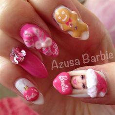 Barbie Christmas #2♡ by azusa - Nail Art Gallery nailartgallery.nailsmag.com by Nails Magazine www.nailsmag.com #nailart