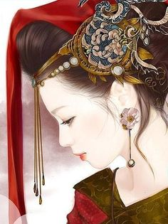 Fx Victoria in Chinese Dress Chinese Drawings, Art Chinois, Art Asiatique, Ancient Beauty, China Art, Ancient China, Chinese Painting, Chinese Style, Chinese Hair