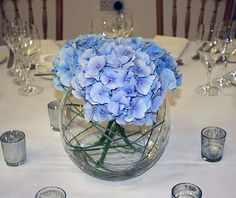 hydrangea fishbowl arrangement