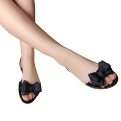 53301536de8102 Jelly Sandals Beach Jelly Shoes Women Summer Butterfly-knot Slip On Flats  Casual Shoes