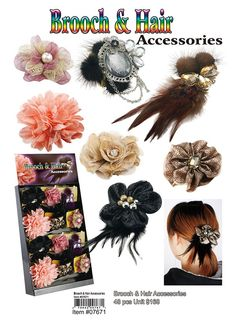Brooch and Hair Accessories [07671]          $168.00               Brooch and Hair Accessories 48 Pcs unit with Display Wholesale Hair Accessories, Jewelry Displays, Wholesale Handbags, Wholesale Fashion, Fashion Jewelry, Brooch, Wholesale Purses, Trendy Fashion Jewelry, Costume Jewelry