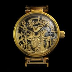 Mens AMAZING BEEFY 1901 OMEGA FACTORY Vintage GOLD SKELETON Watch MAYA STYLE