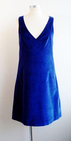 THEORY Jumper Dress 10 Velvet Indigo Blue Sleeveless 'Darnelle' Shift  #sexy #fashion