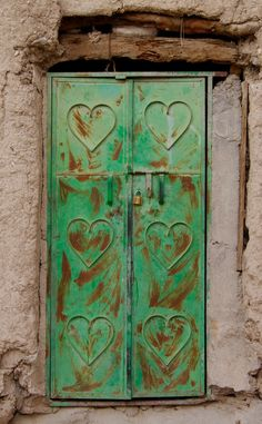 'Hearts on door' Bahla, Ad Dakhiliyah, Oman Cool Doors, Unique Doors, Knobs And Knockers, Door Knobs, Entrance Doors, Doorway, When One Door Closes, Door Gate, Oak Park