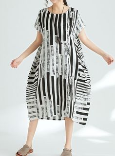 Women loose fit plus over size pocket dress stripes maxi tunic pregnant trendy #unbranded #dress