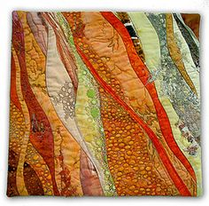 "Hilde Morin | PEACH CRUMBLE   12"" x 12""  random curve pieced, machine quilted, cotton lace appliquéd"