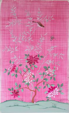Hand-Painted Chinoiserie Silk Wallpaper Panel by dianehilldesign Chinese Wallpaper, Silk Wallpaper, Chinoiserie Wallpaper, Chinoiserie Chic, Wallpaper Panels, Vogue Wallpaper, White Branches, Pink Images, Hand Sketch