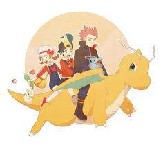 Lyra, Ethan, and Lance riding Dragonite with the starters