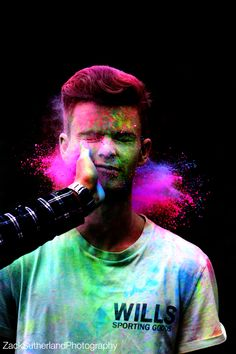 Powder paint photoshoot   Creative action powder paint colour photography neon bright fast shutter black