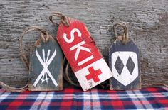 FREE SHIP Skiing Wood Tags Rustic Distressed Ski Trail Lodge Cabin Sign Set