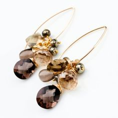 Brown Gemstone Cluster Earrings Smokey Quartz by ClairePearse