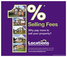 Estates agents discounted fees promotion using a BIG 1% with pictures of sold properties making up the number 1