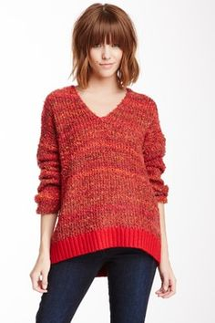"""""""April May Etoile Pullover Sweater"""" - red knit pink skinny jeans longsleeve V-neck bangs short hair"""