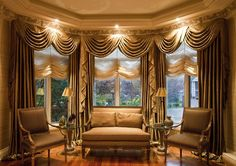 Ideas for Window Treatment for Bay Windows : Ideas For Window Treatment For Bay Windows With Decorative Lighting