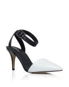 Black and white low heel