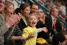 On February 13, 2016, Crown Princess Victoria of Sweden, Prince Daniel and Princess Estelle of Sweden watch the Euro Hockey Tour game between Sweden and Finland at the Hovet Arena in Stockholm, Sweden.
