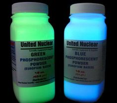 Europium UltraGlow® - new generation GLOW IN THE DARK material in pure powder; Non-Toxic & Non-Radioactive, also PAINT, permanent, water resistant, usable on fabric with extremely long afterglow time (12-15 hrs) when dry. Starts at $10.