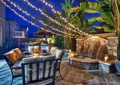 Creating the mood in the backyard!  Fountain splashing, twinkle lights on, candles in hurricanes & fresh fruit for that splash of color! Vista Del Verde.  Yorba Linda, Ca. #orangecounty