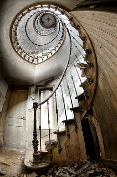 Spiral stairs in a abandoned building...
