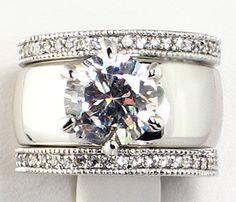 4.28 CT. Wide Solitaire CZ ETERNITY BAND Bridal Wedding 3 PC. Ring Set - SIZE 9 picclick.com