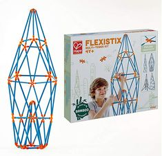$32.95, Hape Flexistix STEM Building Multi-Tower Kit, Featuring 132 Multi-Colored Bamboo Pieces
