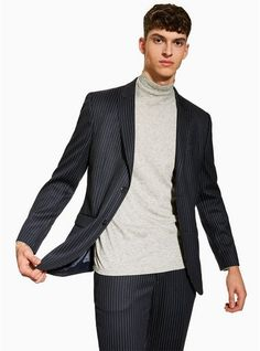0a351529 Mens Navy Pinstripe Tailored Blazer Blazers For Men, Mens Suits, Navy, Suit  Jackets