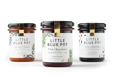 Little Blue Pot may look like your regular jar of jam, but the flavor is  something extraordinary. Coba & Associates developed the packaging for  these unique combinations of jams, including cherry and black pepper,  apricot and thyme, and plum and rosemary.
