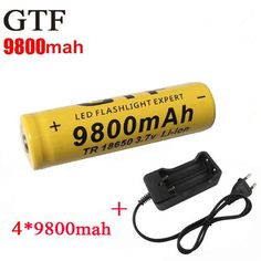 4pcs/set 18650 battery 3.7V 9800mAh rechargeable li-ion battery + one charger for Led flashlight batery litio battery 18650