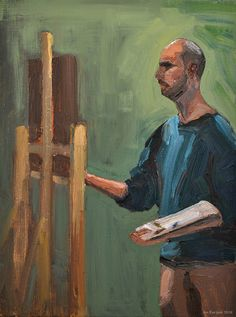 'The painting pianist'. Painting of Wouter while he was painting, oil paint on canvas. 2016. www.brimbrom.com