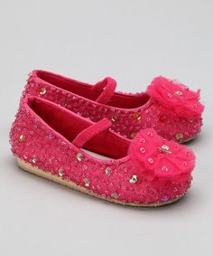 Take a look at this Hot Pink Flower Puff Flat by Fairy Dreams on #zulily today!