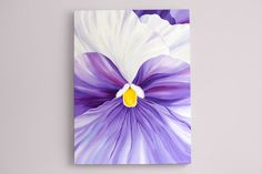 Purple pansy painting by Inna Bagaeva 30x40x1.5 by Juissip on Etsy