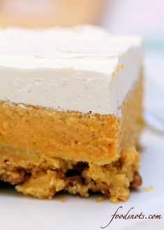 I think I may have to try this!   Pecan Pumpkin Dessert - pumpkin, pecans and cream cheese.... you can't go wrong.
