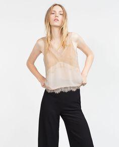 LACE MOLESKIN TOP from Zara 69.95tl