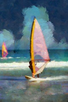 "Saatchi Art Artist Marco Antonio Pajola; New Media, ""Windsurfers"" #art"