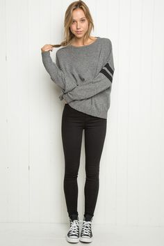 57c96055d8a7c0 So simple and cute ahhh! i rlly want a striped arm sweater like that  )