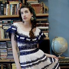 1970's Mexican Wedding Dress Tiered White w/ Navy by Fabstract, $115.00