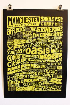 Manchester, its the city of. Manchester Landmarks, Manchester Map, Typography Prints, Typography Design, Maps Posters, Environmentally Friendly Packaging, Peter Saville, Joy Division, Britpop