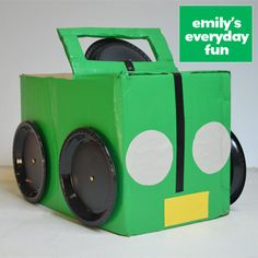 """Make a Cardboard Box Car - Seal a large box with packing tape. Then cut two thirds of the top of the box, leaving it joined to the car's """"hood."""" The drawing a line for the windscreen, cutting it out and taping inside and out. Paint the box.  Attach paper plate wheels and steering wheel. Then get creative with custom decorating."""