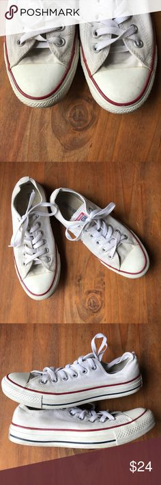 Converse all star white sneakers, 7.5 In good used condition 👍🏻❤️ no major flaws, all wear pictured above. Converse Shoes