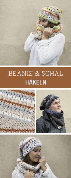 Häkelanleitung und Muster für einen Schal und eine Beanie Mütze / diy crochet instruction and pattern for scarf and beanie via DaWanda.com
