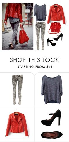 """""""Sin título #316"""" by lala-869 ❤ liked on Polyvore featuring rag & bone, PYRUS, Chicnova Fashion, Twin-Set, Lacoste, black, red, shoes, jeans and jacket"""