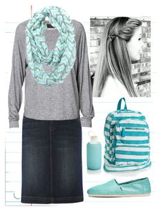 """Back to School #4"" by modestlyme97 ❤ liked on Polyvore featuring Crate and Barrel, Linea Weekend, By Malene Birger, Aéropostale and TOMS"