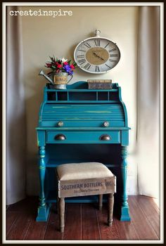 {createinspire}: Roll Top in Renfrew Blue (Fusion Mineral Paint) [[[Mom's could repaint the roll top desk. Furniture Update, Furniture Projects, Furniture Making, Furniture Makeover, White Washed Furniture, Blue Painted Furniture, Upcycled Furniture, Diy Furniture, Refinished Furniture