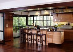 Asian contemporary home. Custom kitchen.