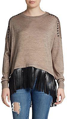 Tatum Fringed Wool-Blend Pullover