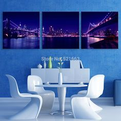 Stretched Canvas Prints Light Bridge  LED Flashing Optical Fiber Print  LED Wall Art LED Decorations