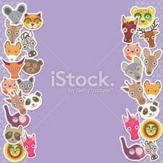 Funny Animals card template. lilac background, template for your design. Royalty Free Stock Vector Art Illustration
