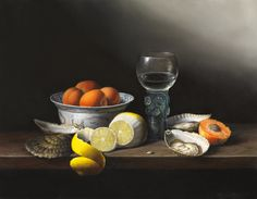 'Oysters & Apricots' Oil on Canvas: 35 x 45 cm Signed by Brian Davies (1942 - 2014)