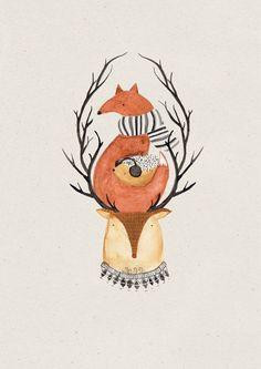 Herbstliche Grüße: Postkarte mit Waldtrio, Reh, Igel, Hirsch / for your autumn letters, illustrated postcard, fox, deer and hedgehog by baer-von-pappe via DaWanda.com