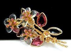 Vintage Vendome Brooch Lucite Petal Flowers Pink Glass Rhinestones  - Found on Lookza.com